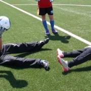 Echauffement musculaire et technique au football camp